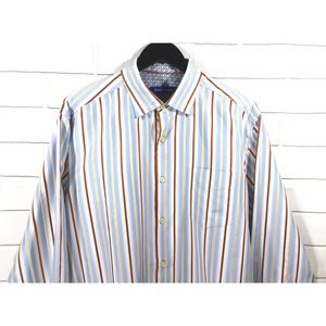 Tommy Bahama Button Front Striped Large Silk Shirt